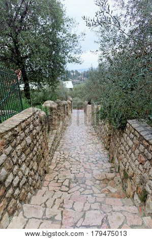 Jerusalem, Israel. - February 14.2017 The territory of Gorny Convent - stairs
