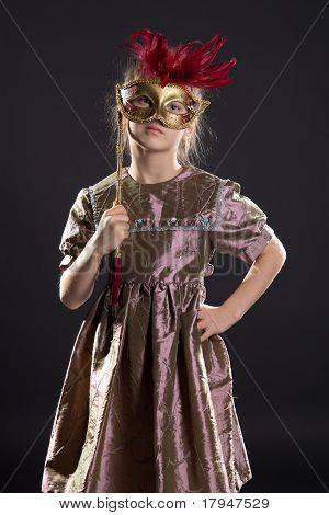 Little pretty girl with mask