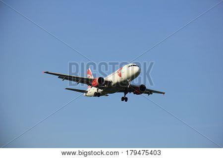 Amsterdam the Netherlands - May 6th 2016: OK-NEO Czech Airlines (CSA) Airbus A319 approaching Schiphol Zwanenburg runway arriving from Prague Czech Republiek
