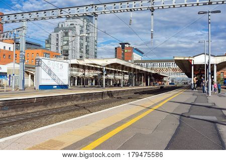 Slough, UK. 1st April 2017. Slough station on the Great Western mainline. The line is being electrified from London to Wales.