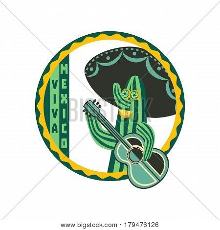 Mexican poster concept. Freehand drawn cartoon style. Viva Mexica fancy letters in round frame. Green Cactus, guitar, sombrero traditional symbol of Mexico. Vectorsign element badge background