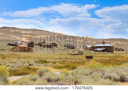 View from Bodie Ghost Town California USA. Old abandoned mine