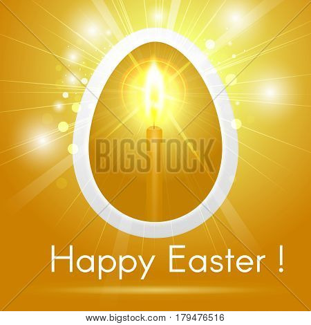 Festive Happy Easter Greeting Card With Stylized Golden Egg With A Candle Inside