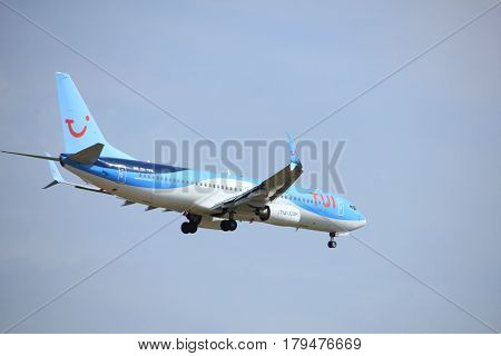 Amsterdam the Netherlands - July 21st 2016: PH-BXB PH-TFB TUI Airlines Netherlands Boeing 737 Boeing 737 approaching Polderbaan runway at Schiphol Amsterdam Airport arriving from Eindhoven the Netherlands