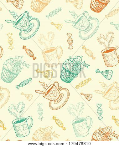 Food seamless pattern. Vector illustration easy to edit.