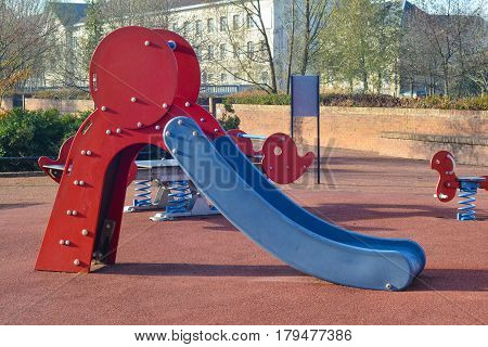 Children playground blue red slider for kids