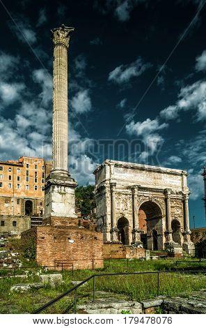 Ancient Arch of emperor Septimius Severus at the Roman Forum, Rome, Italy