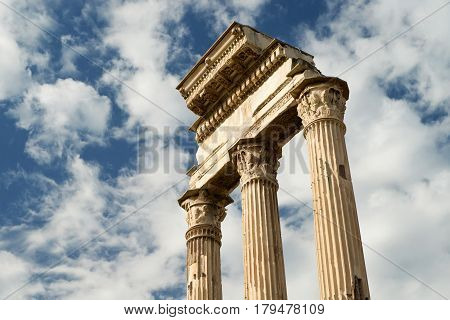 Temple of Castor & Pollux at Roman Forum, Rome, Italy