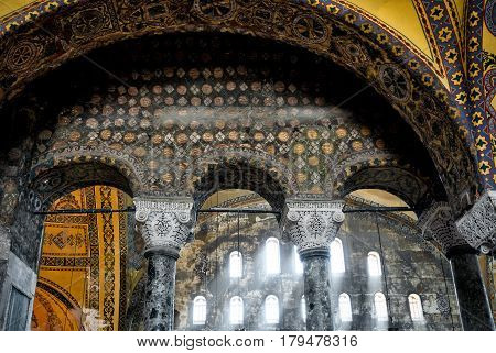 ISTANBUL - MAY 25, 2013: Interior of Hagia Sophia. Church of Hagia Sophia is the greatest monument of Byzantine Culture. It was built in the 6th century.