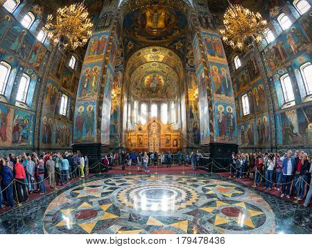 ST PETERSBURG, RUSSIA - JUNE 13, 2014: Interior of Church of the Savior on Spilled Blood (Cathedral of the Resurrection of Christ). It is an architectural landmark of St Petersburg and a unique monument to Alexander II the Liberator.