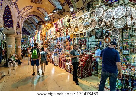 ISTANBUL - MAY 27, 2013: The Grand Bazaar in Istanbul. The Grand Bazaar is the oldest and the largest covered market in the world with 61 covered streets and over 3000 shops.