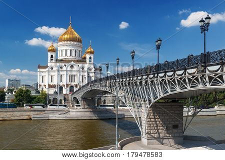 The Cathedral of Christ the Saviour and Patriarshy bridge in Moscow, Russia