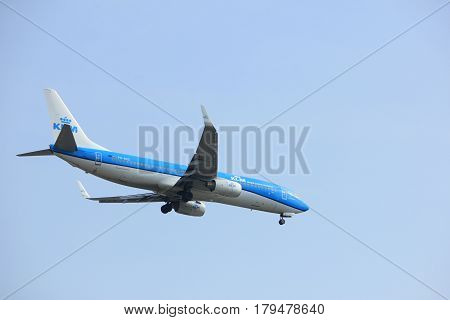 Amsterdam the Netherlands - March 31st 2017: PH-BXZ KLM Royal Dutch Airlines Boeing 737-800 approaching Polderbaan runway at Schiphol Amsterdam Airport the Netherlands