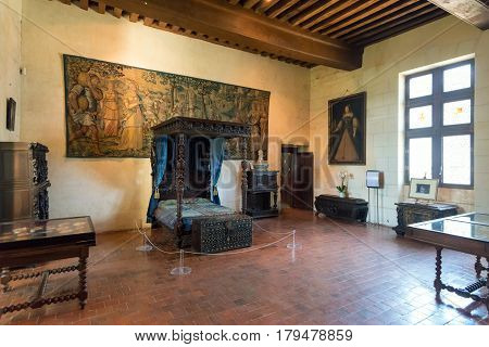 FRANCE - SEPTEMBER 20, 2013: Interior Chateau de Chaumont-sur-Loire, France. This castle is located in the Loire Valley was founded in the 10th century and was rebuilt in the 15th century.