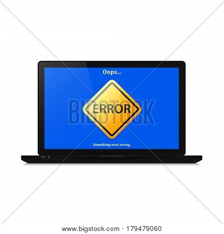 Error mistake sign on computer laptop screen. Vector illustration of realistic computer laptop with error page.