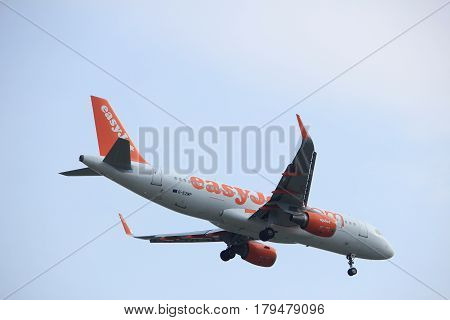 Amsterdam the Netherlands - March 31st 2017: G-EZWP easyJet Airbus A320-214 approaching Polderbaan runway at Schiphol Amsterdam Airport the Netherlands