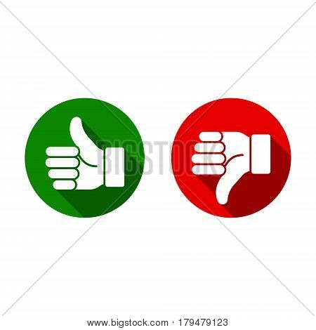 Thumb up thumb down green and red sillouettes. Vector evaluation sign.