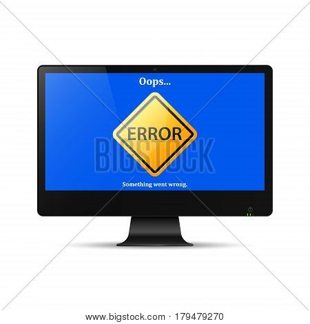 Error mistake sign on pc computer screen. Vector illustration of realistic computer with error page.