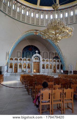 TIRANA, ALBANIA - SEPTEMBER 27: Interior of the new Orthodox Cathedral of the Resurrection of Christ in Tirana, Albania on September 27, 2016.