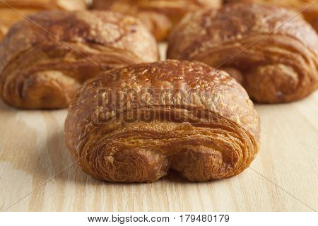 Fresh French chocolat croissants close up
