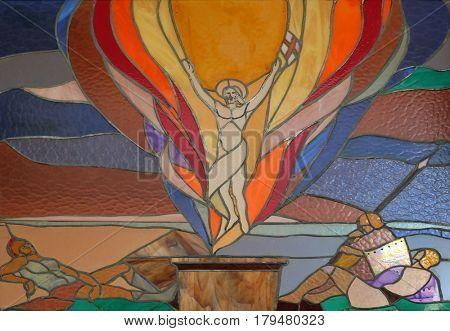 VAU I DEJES, ALBANIA - SEPTEMBER 30: Resurrection of Christ stained glass window in Mother Teresa cathedral in Vau i Dejes, Albania on September 30, 2016.