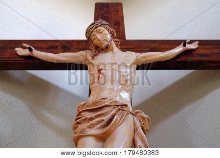 VAU I DEJES, ALBANIA - SEPTEMBER 30: Crucifixion in Mother Teresa cathedral in Vau i Dejes, Albania on September 30, 2016.