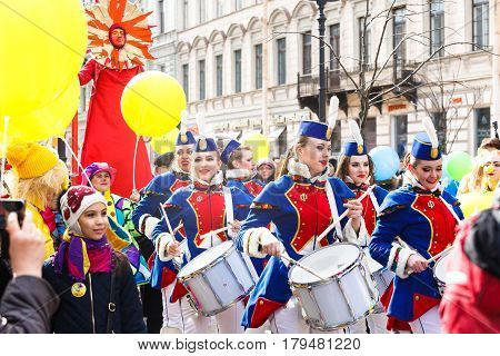Saint-Petersburg, Russia - April 1, 2017: Show of drummers on Funny festival XVI