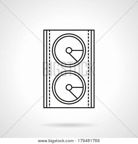 Abstract symbol of music speaker. Stage sound system and equipment. Flat black line vector icon.