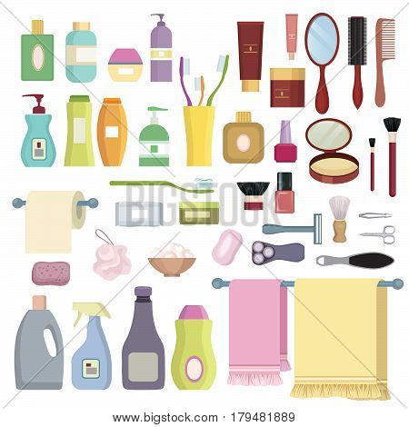 Beauty care related object set. Hygiene symbols. Bath supplies shower tooth care brushes towel and razors.
