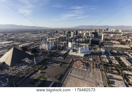 Las Vegas, Nevada, USA - March 13, 2017:  Aerial view of casino resorts along the Las Vegas Blvd in Southern Nevada.