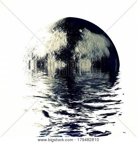 melting super moon in ocean waves, night scene full moon reflection on water
