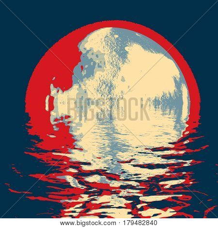 super moon abstraction, planet or moon with water reflection effect