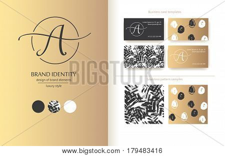 Sophisticated brand identity. Letter A line logo. Can be used by appropriate brand name. Business card template included