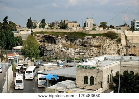JERUSALEM ISRAEL - MARCH 25 2017: View from the northern wall of the old city of Jerusalem to Protestant Golgotha