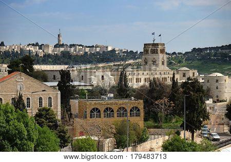 JERUSALEM ISRAEL - MARCH 25 2017: View of the Rockefeller Archaeological Museum in East Jerusalem