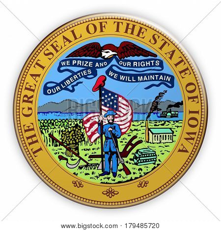 Badge US State Seal Iowa 3d illustration