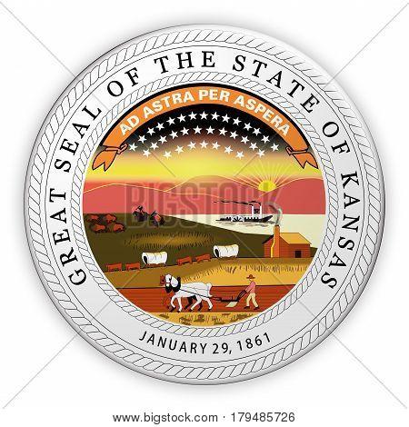 Badge US State Seal Kansas 3d illustration