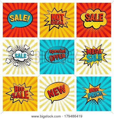 Retro sales icon vector card collection. Cartoon icon on colorfull rays background. Bubbles vector illustration. Tag icons with halftone dot comic style