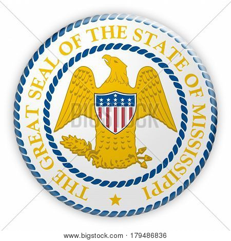Badge Historic US State Seal Mississippi 3d illustration