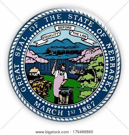 Badge US State Seal Nebraska 3d illustration
