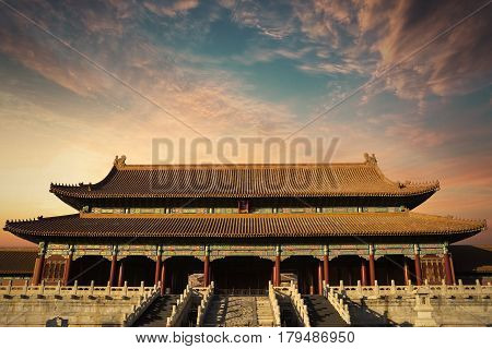 Beautiful imperial palace with twilight sky in the Forbidden City at Beijing China