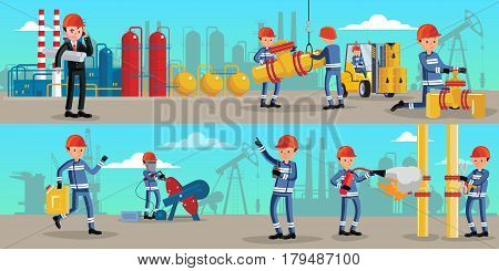 Petrochemical industry characters horizontal banners with workers in different situations on oil industrial plant vector illustration