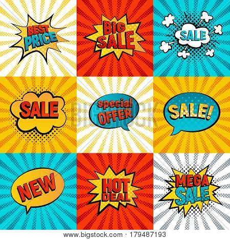 Sales icons vector set. Big Mega sale Best price and Hot deal comic style card on background with rays. New Special offer on spech bubble. Explosion bubbles discount promotion pop art style