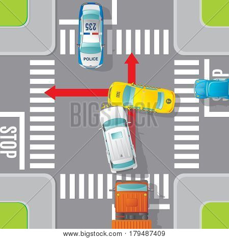 Car accident top view concept with crash of jeep and taxi on road intersection vector illustration poster