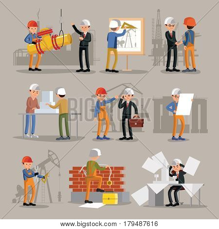Industrial professional engineers set with construction workers builders and architects in different situations isolated vector illustration