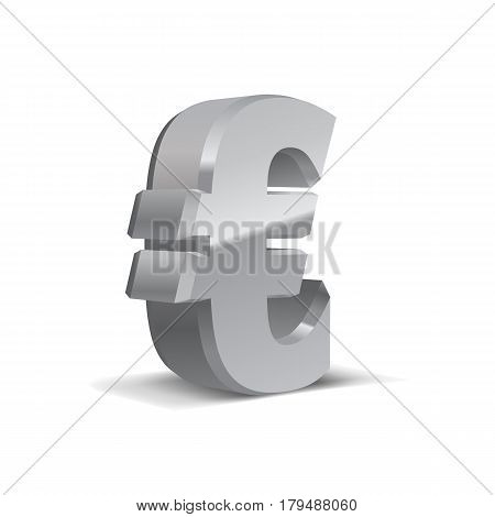Grey-Silver 3d Euro Sign. Currency symbol. Vector Illustration. Isolated on White Background
