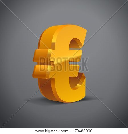 Yellow-Gold 3d Euro Sign. Currency symbol. Vector Illustration. Isolated on Grey Background