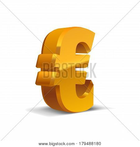 Yellow-Gold 3d Euro Sign. Currency symbol. Vector Illustration. Isolated on White Background