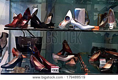 Women shoe shop window. Women shoes store. Women shoes for sale.