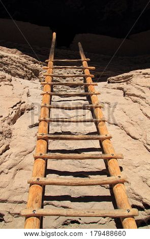 A Ladder Leads to the Ancient Ruins of Gila Cliff Dwellings National Monument, New Mexico